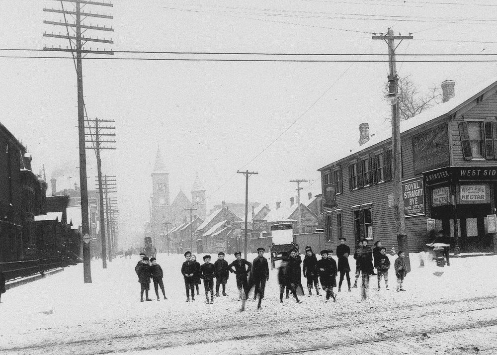 Looking north from the intersection of Chicago Ave. & Noble St., 1906. Saint Boniface can be seen in the background.