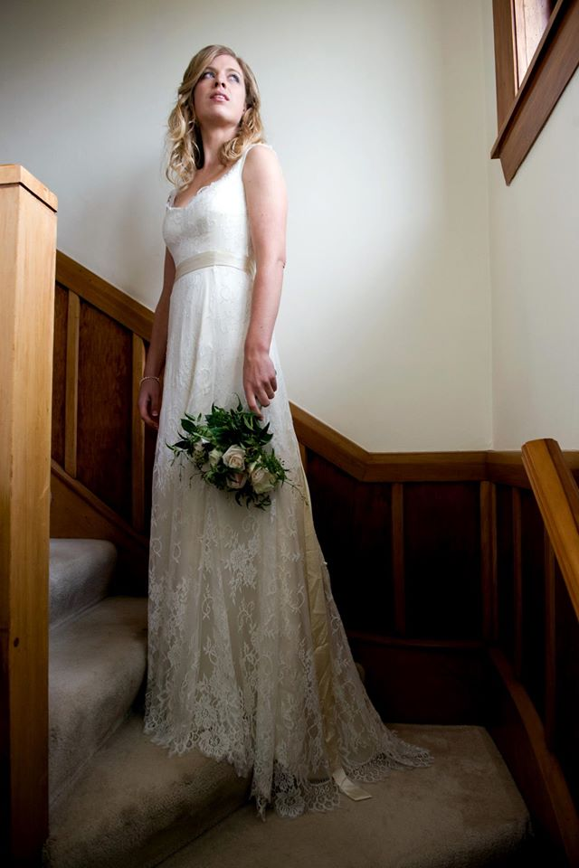 Aimee - silk satin charmeuse, chantilly lace - Christchurch Bride