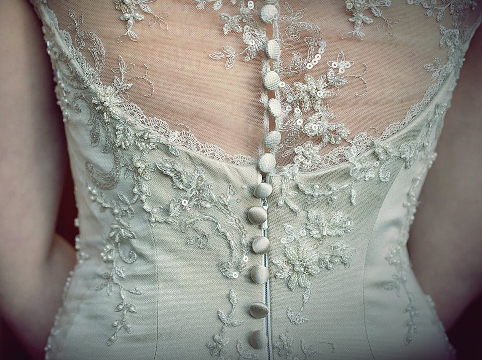 v - silk satin crepe, beaded lace, antique lace trims - Marlborough Bride