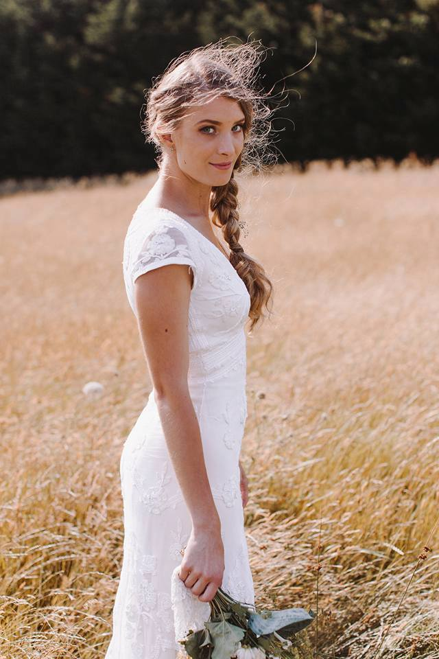 Theresa - silk satin charmeuse, cotton lace - Auckland Bridal