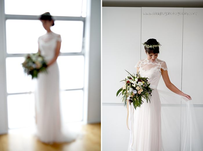 Julia - satin crepe, embroidered tulle, scalloped trim - Christchurch Bridal, Angela Penn Photography