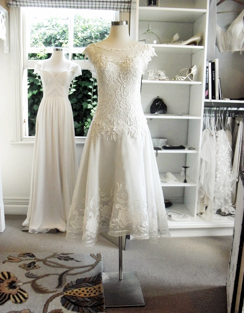 Catherine - silk satin crepe, silk organa, guipure lace - Christchurch bride