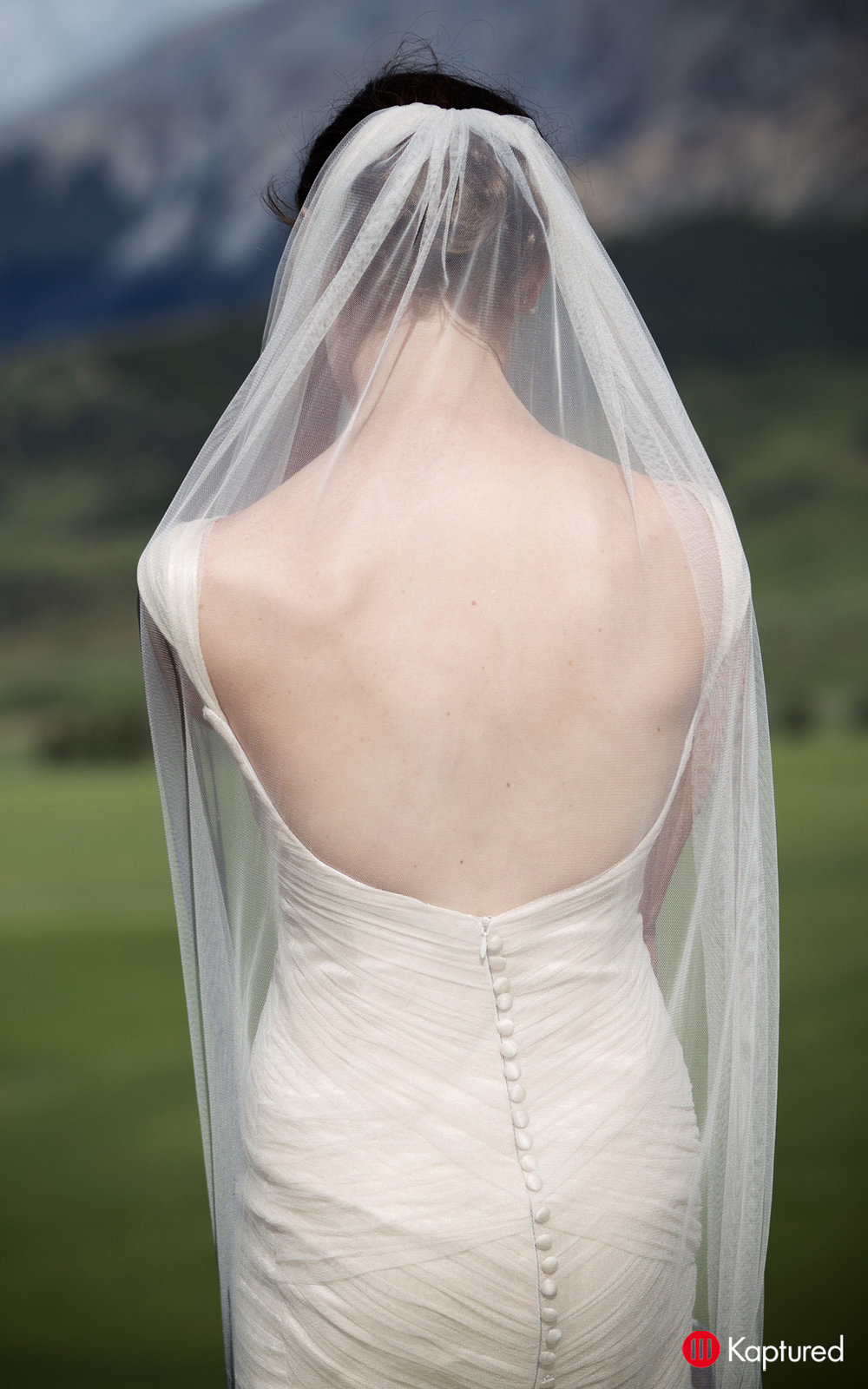 Danni - silk satin crepe, silk tulle - Castle Rock bride - Kaptured Photography