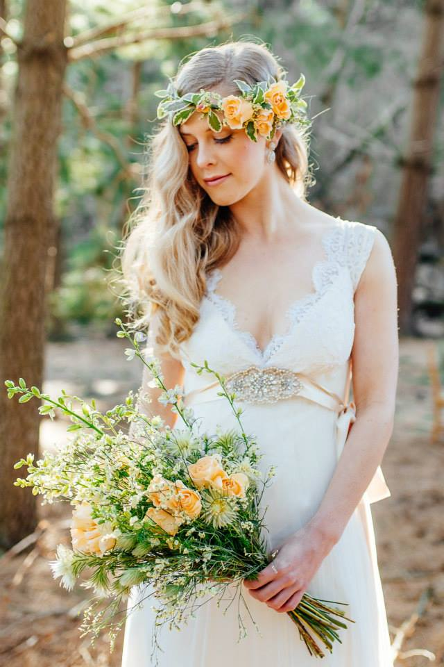 model wears custom sample - silk satin crepe, tulle, chantilly lace - Forest styled shoot - Johanna Macdonald Photography