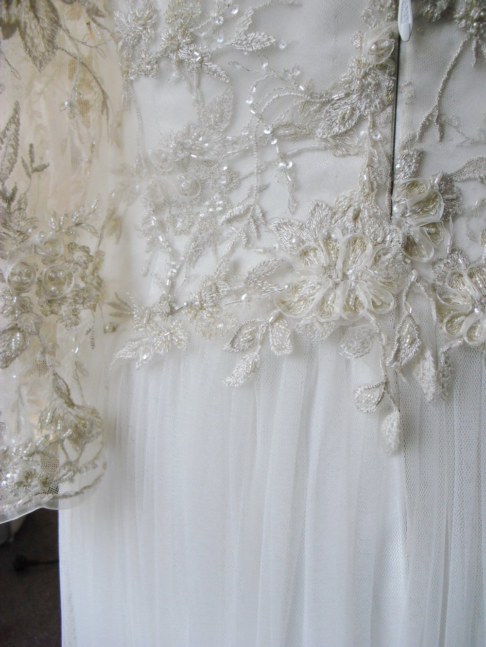 v - silk satin crepe, beaded lace - Chistchurch bride - studio shot