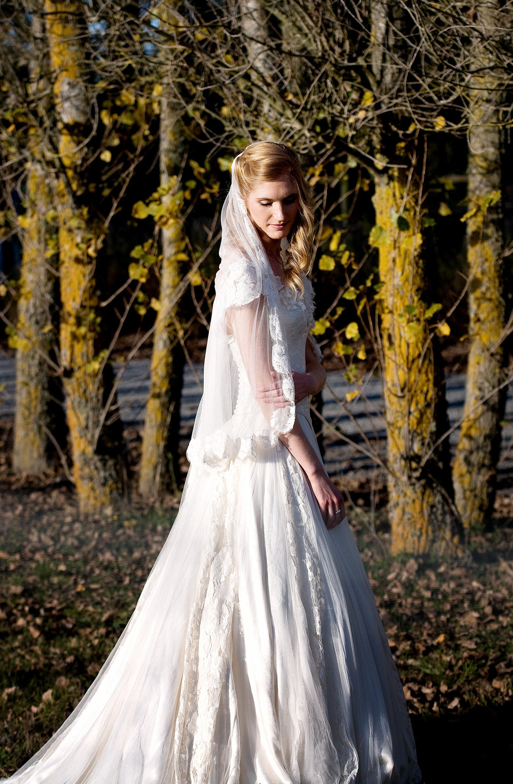 Justine - silk satin crepe, silk tulle, vintage lace - Christchurch bridal - Tracey Alsopp Photography