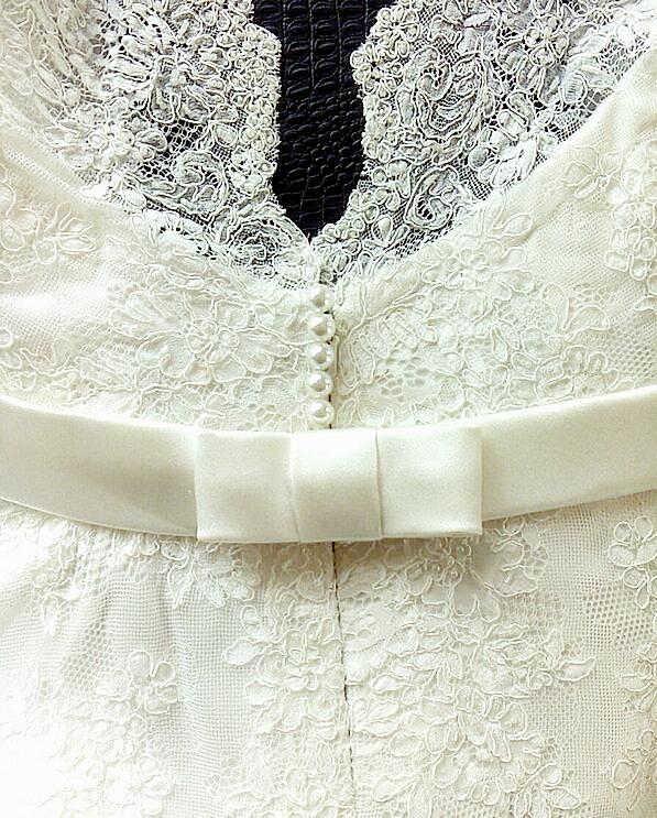 Sarah - silk satin crepe, corded lace - auckland bride