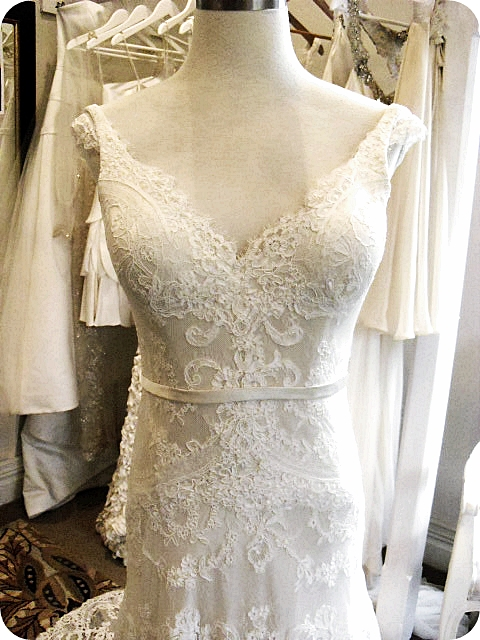 Sarah - silk satin crepe, applique corded lace - studio picture
