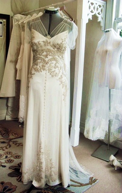 v - silk satin crepe, applique beaded lace on tulle - Christchurch Bride, in house picture