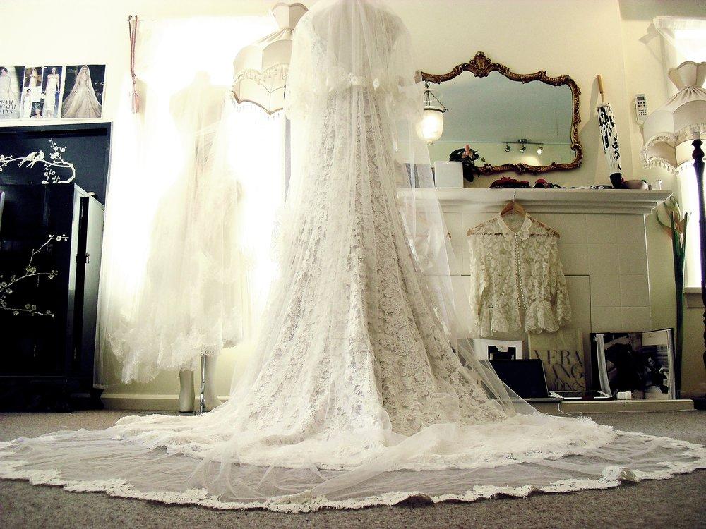 Larissa - silk satin crepe, corded lace, vintage veil - studio shot