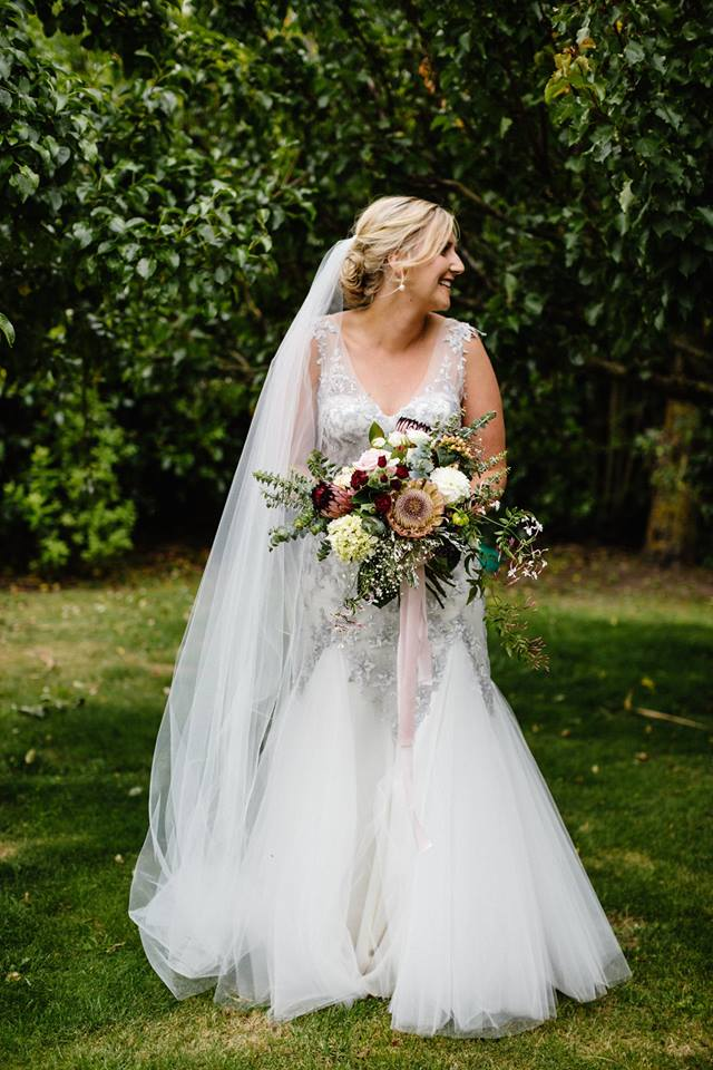 Sophie - silk satin crepe, tulle, appliqued lace - North Canterbury bride - Bellbird Photography