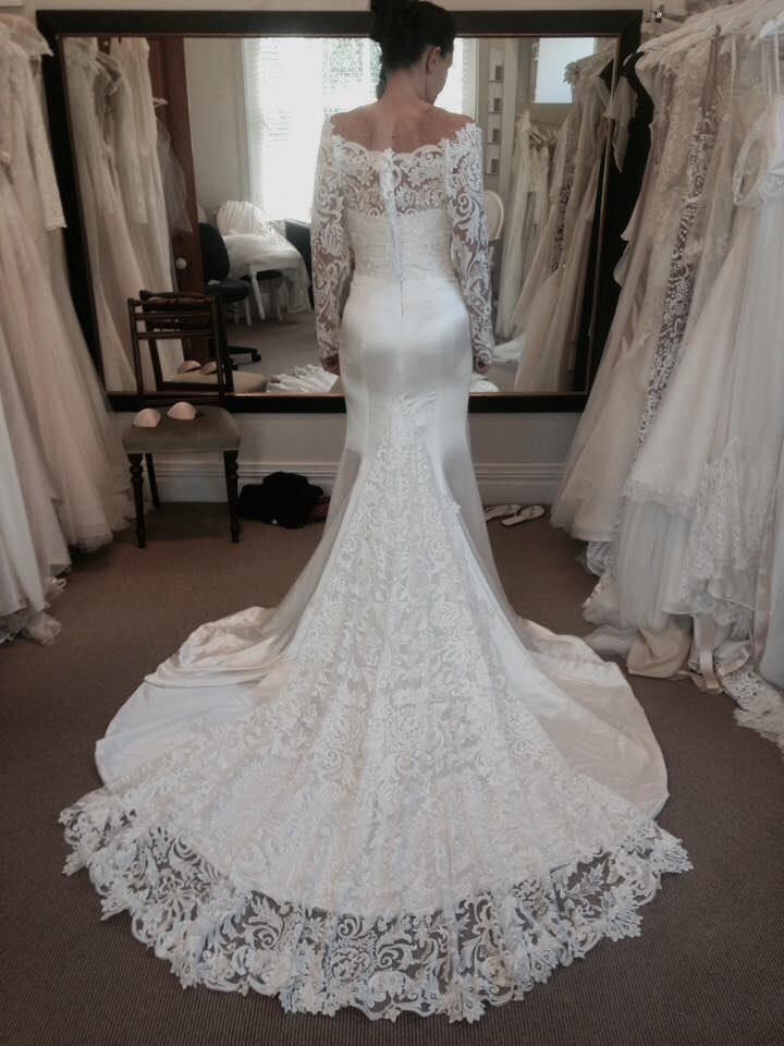 Fran, final fitting - heavy silk satin crepe, heavy embroidered tulle - Christchurch bride - studio shot