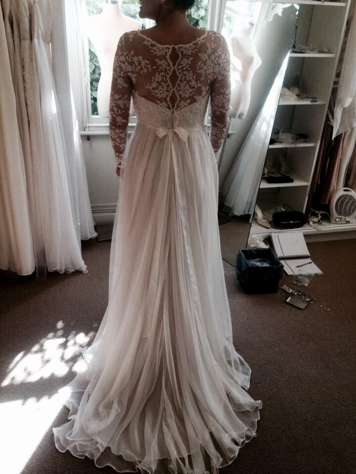 Jo - satin, silk chiffon, lace, georgette - final fit - Christchurch bride - studio shot