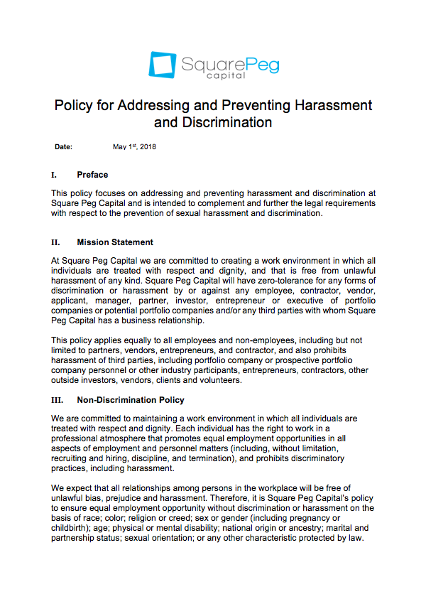 Policy for Addressing and Preventing Sexual Harassment and Discrimination Square Peg, Israel