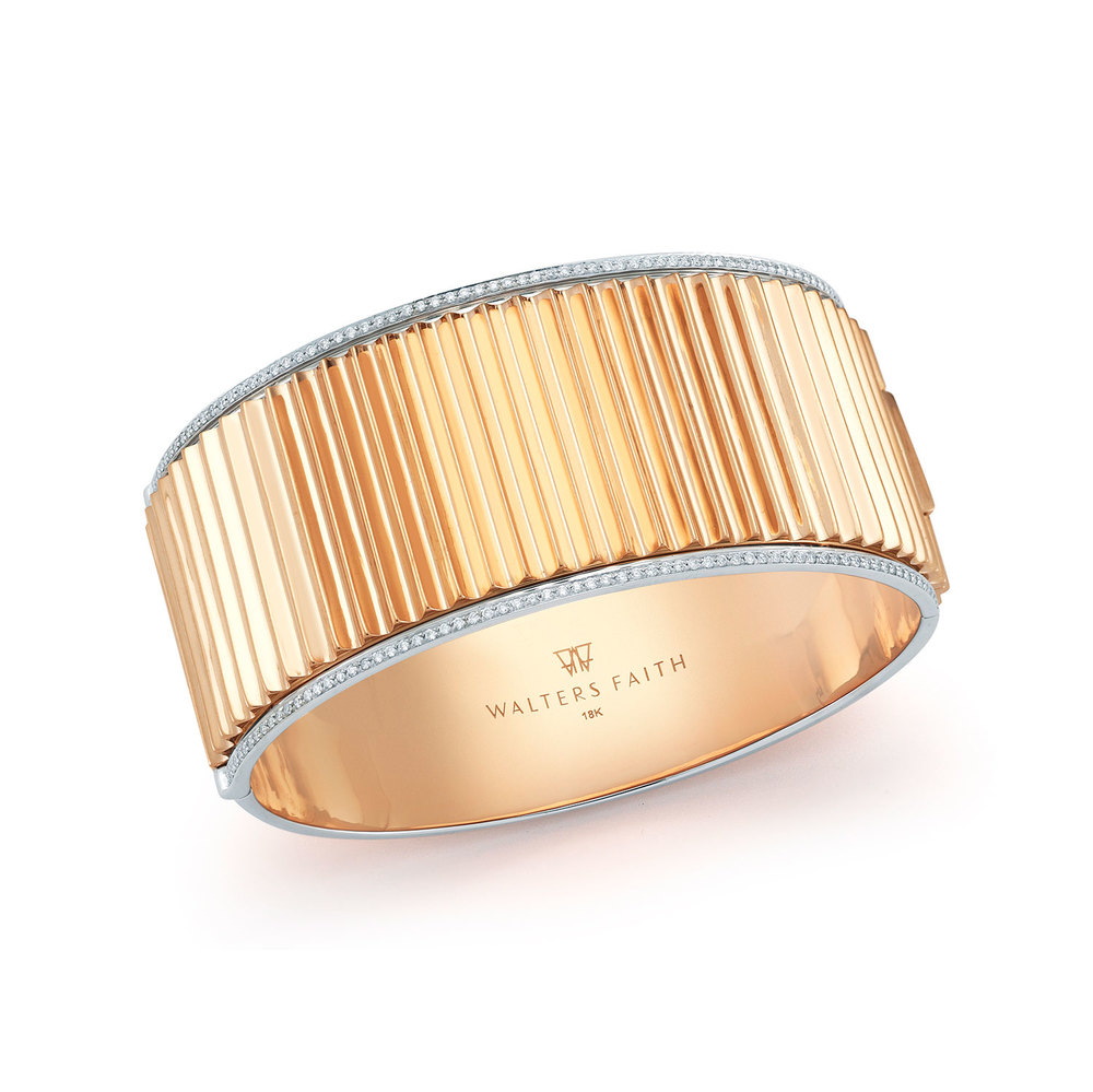 Walters Faith Clive Two Tone Hinged Fluted Bangle DJP3a5