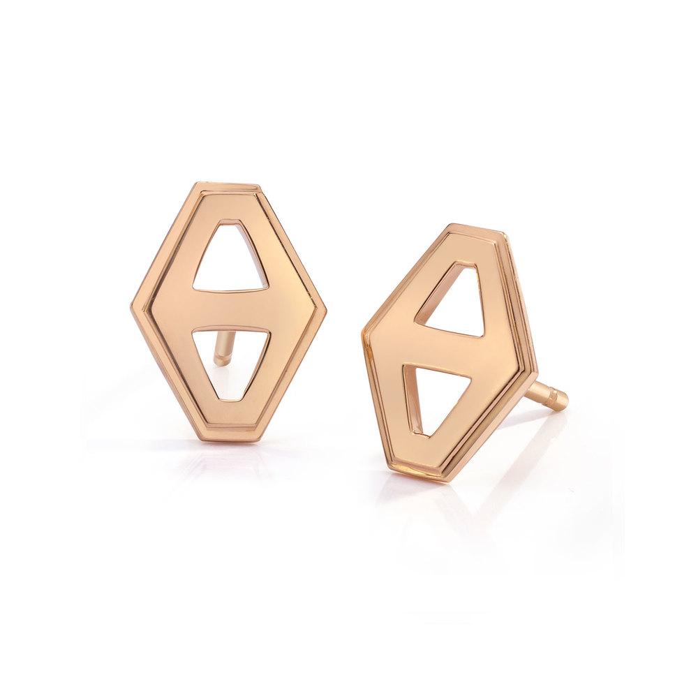 Walters Faith Keynes 18K Small Signature Hexagon Sapphire Stud Earrings akmRylWi