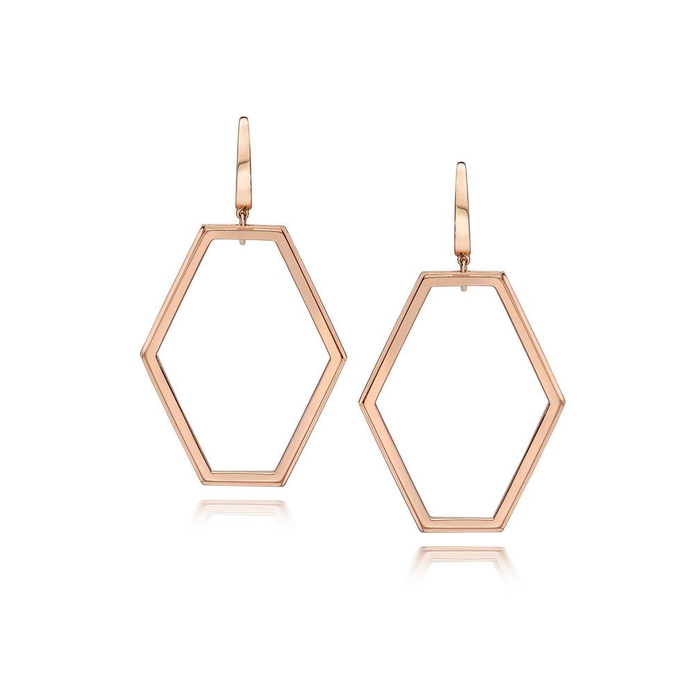Walters Faith Keynes Medium 18K Signature Hexagon Motif Earrings Va01ukuqQ