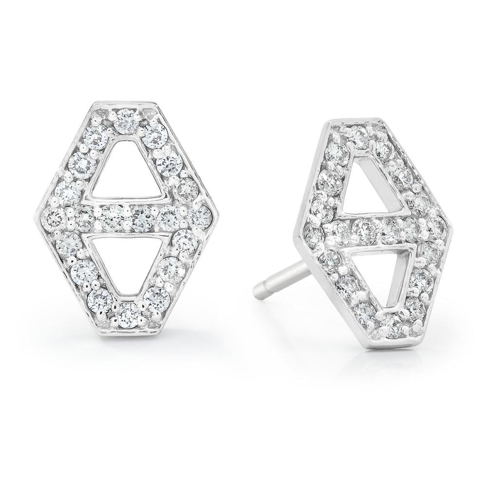 Walters Faith Keynes 18K Medium Signature Hexagon Diamond Stud Earrings Silver tWBn7188c1