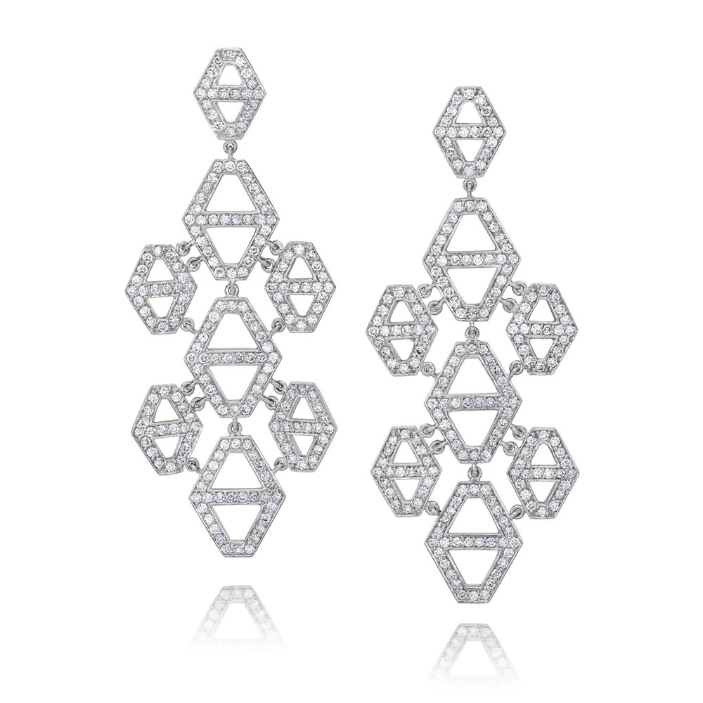 Walters Faith Keynes Signature Hexagon With Diamond And Garnet Earrings wrHV1jr7Xj