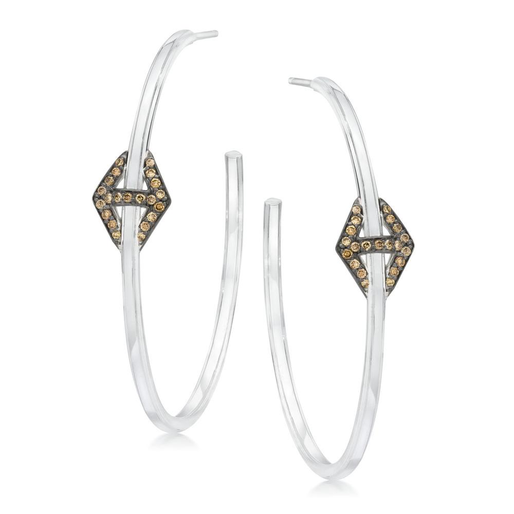 Walters Faith Keynes Hexagon Pass Through Diamond Hoop Earrings ensxyp