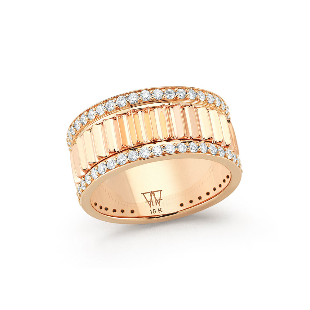 Walters Faith Clive Two Tone All Diamond Fluted Band Ring 50h12