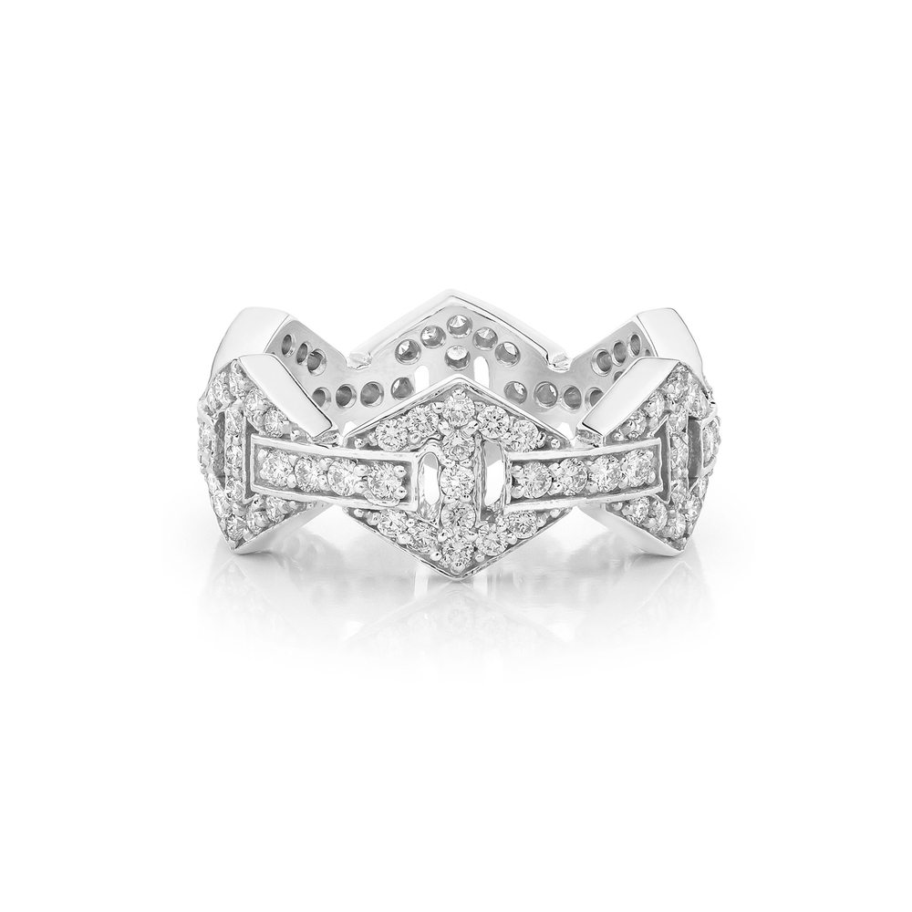 Walters Faith Keynes 18K Signature All Diamond Large Hexagon Ring Silver bAfM883SR