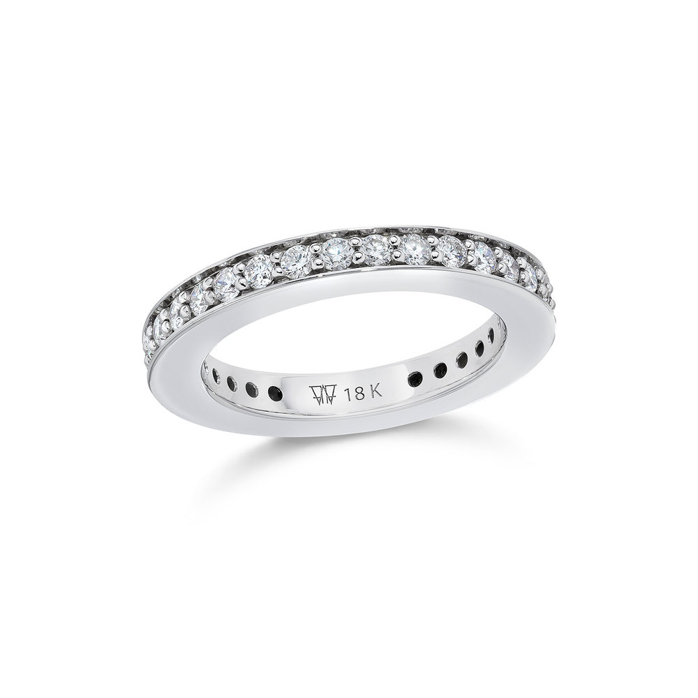 Walters Faith Grant 3Mm Diamond Cubed Band Ring Silver 2HUmt