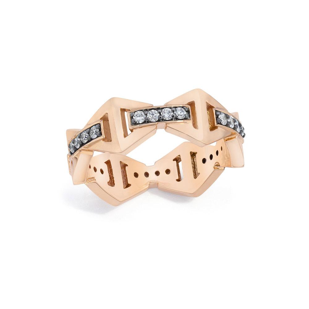Walters Faith Keynes 18K Large Signature Sapphire Hexagon Ring FNo3J4J
