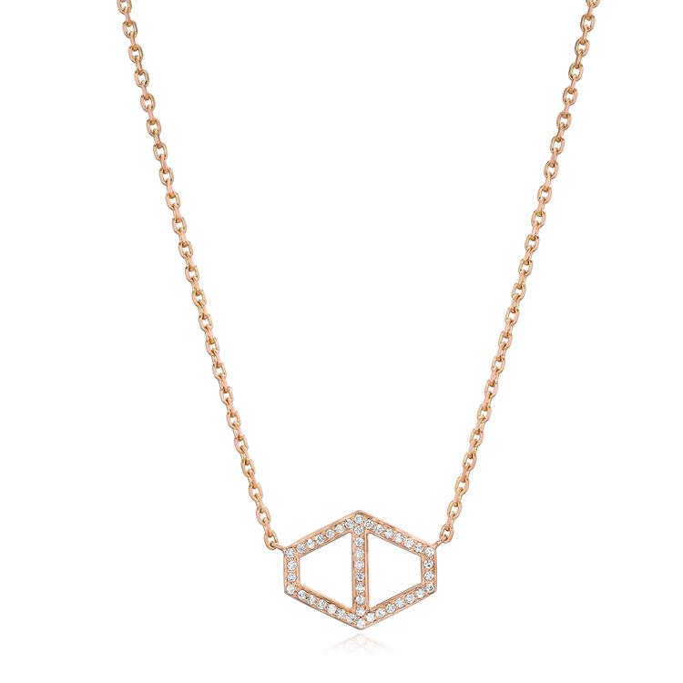 Keynes 18k large diamond signature hexagon pendant necklace keynes 18k large diamond signature hexagon pendant necklace aloadofball Choice Image