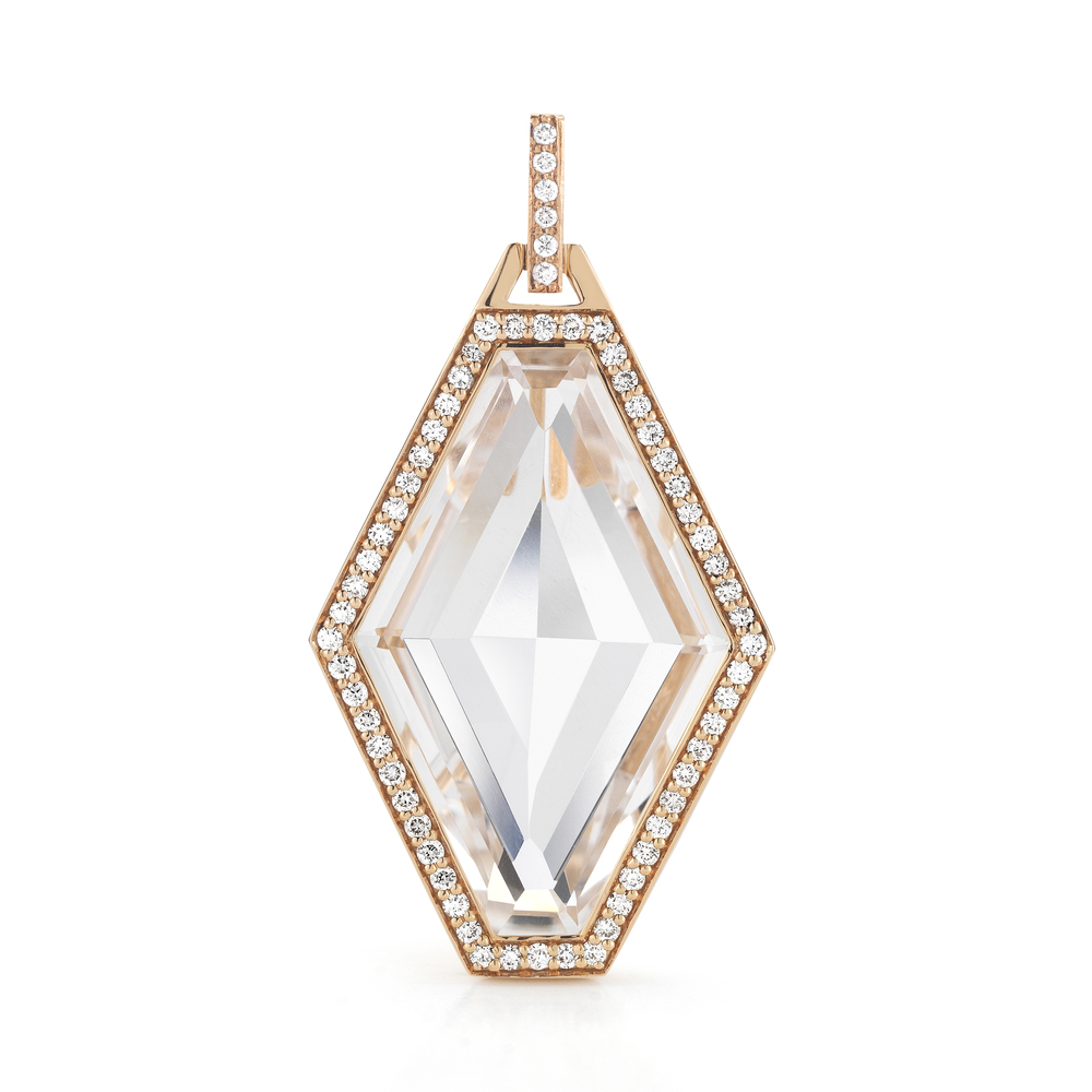 Walters Faith Bell 18K Diamond Rock Crystal Bar Pendant agBfw