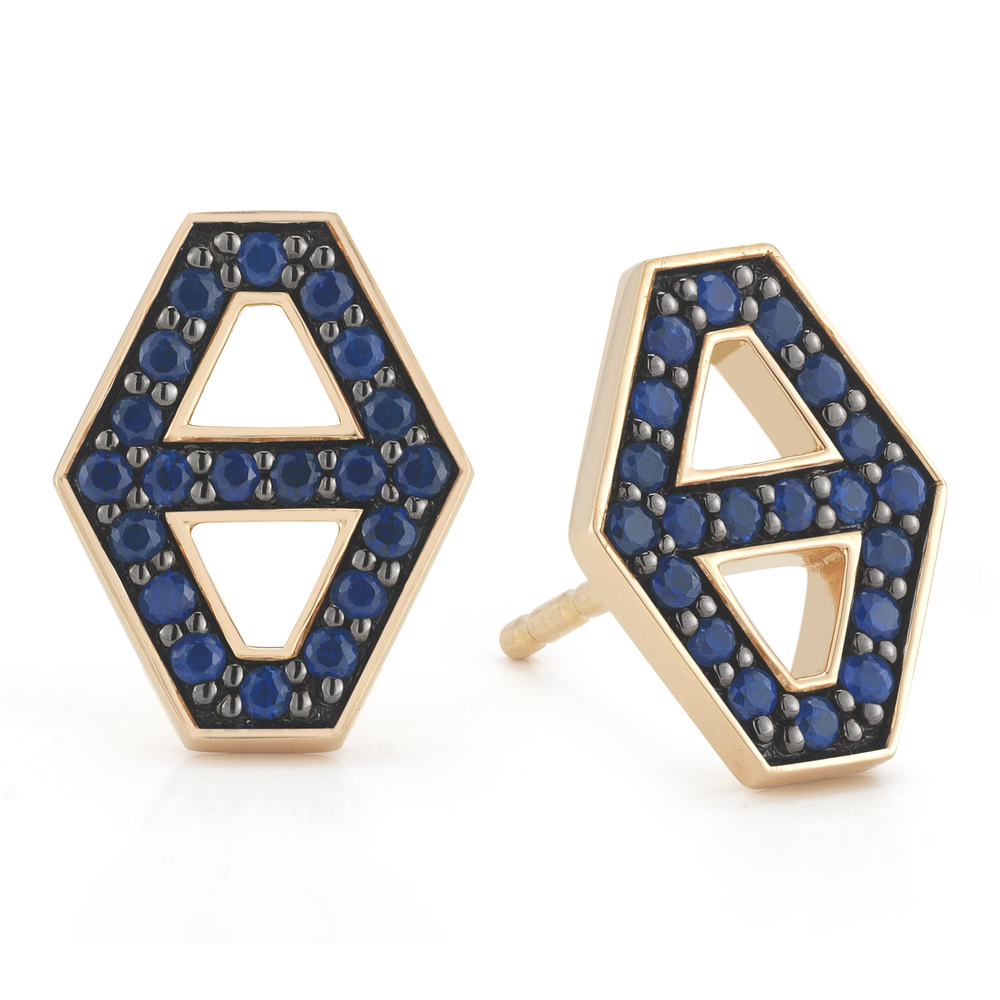 Walters Faith Keynes 18K Medium Signature Hexagon Sapphire Stud Earrings RyurZRu