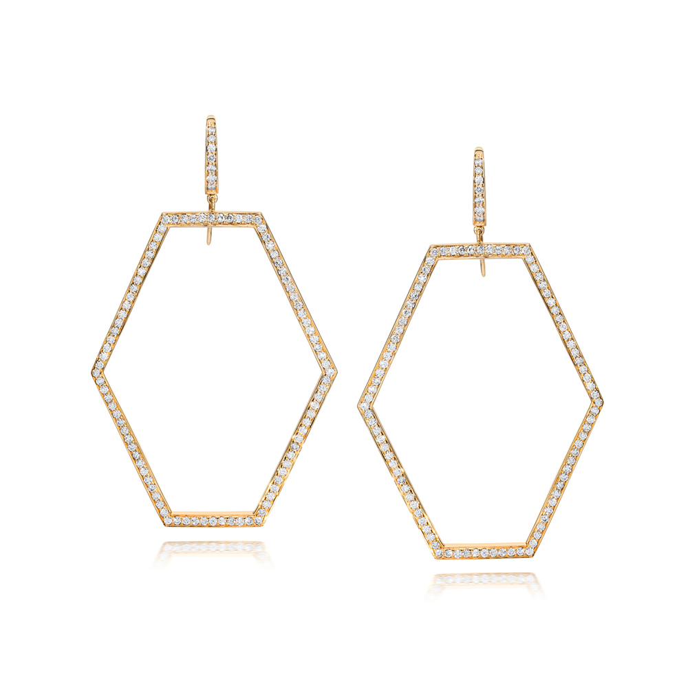 Walters Faith Sydney 18K Diamond Two Tone Origami Drop Earrings OuWDdC