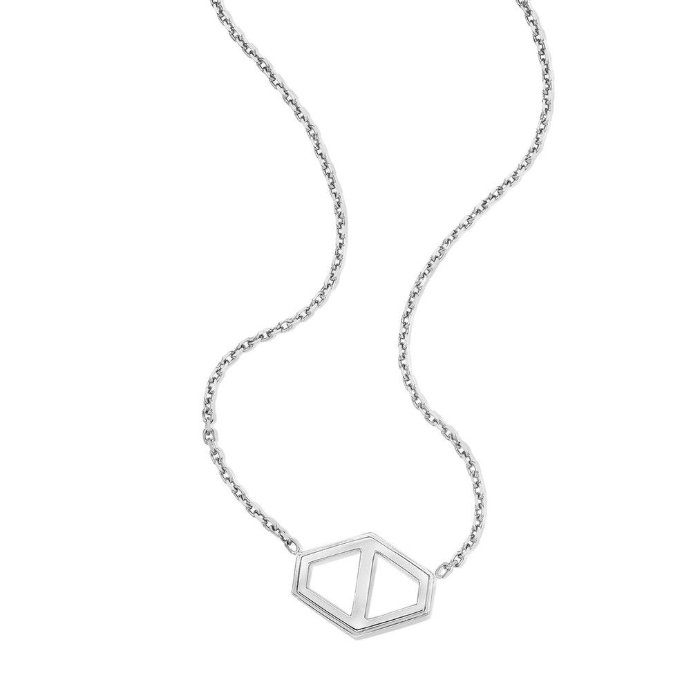 Walters Faith Keynes 18K Large Diamond Signature Hexagon Pendant Necklace Silver k2ZOOX