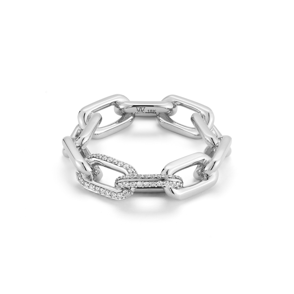 Walters Faith Saxon 18K Large Chain Link Ring With Diamonds Silver