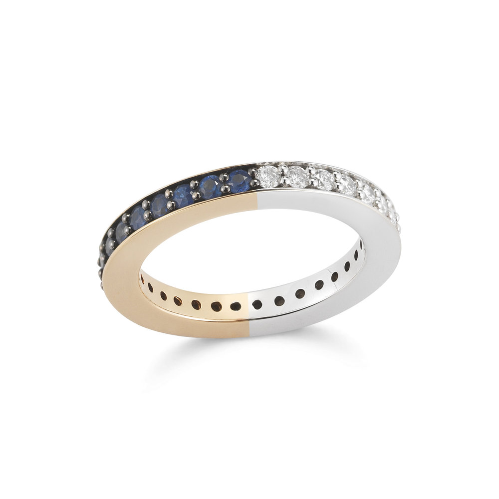 Walters Faith Lytton 18K Rose Gold Wide Ring With Blue Sapphire Edges