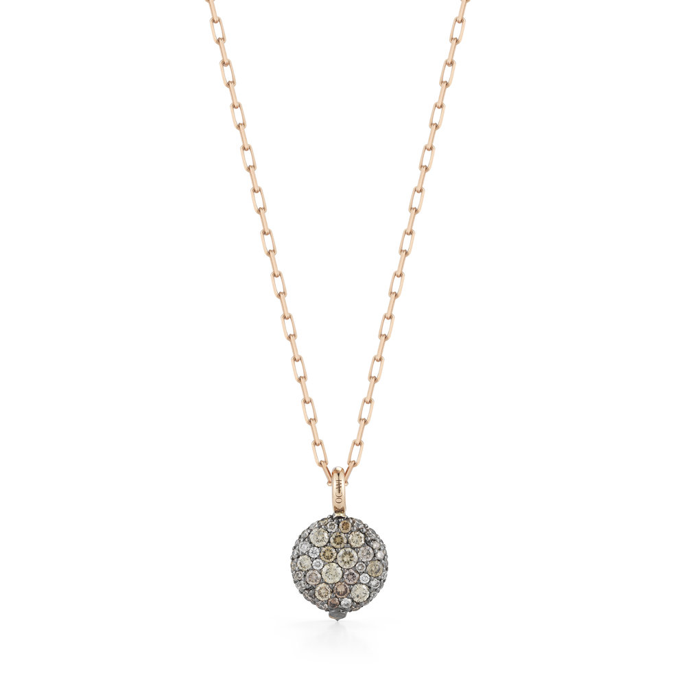 Walters Faith Chantecaille 18K Small Champagne Diamond Pebble Pebble + 24 rose gold chain 1h3iPMbejy