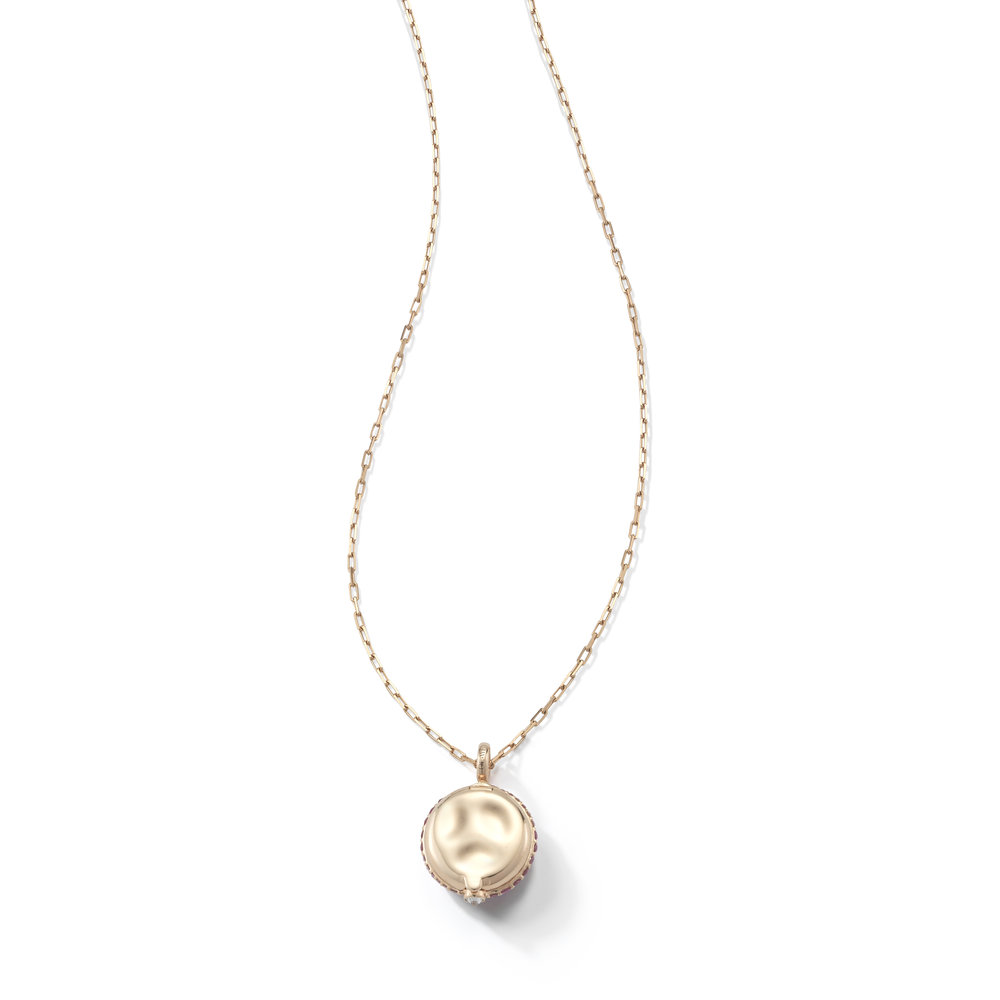 Walters Faith Chantecaille 18K Small Champagne Diamond Pebble Pebble + 24 rose gold chain S5Bu1s