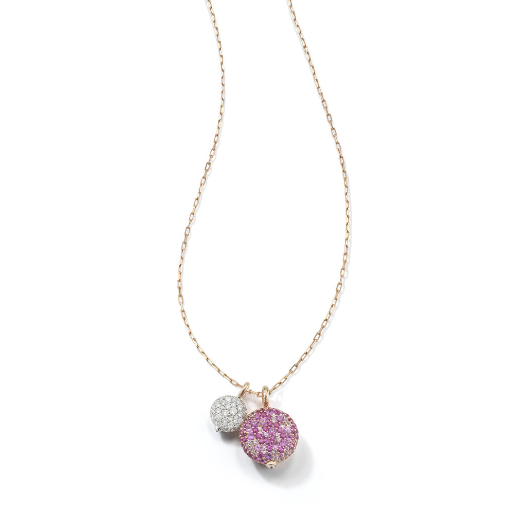 Walters Faith Chantecaille 18K Large Pink Sapphire Pebble Pebble + 24 rose gold chain