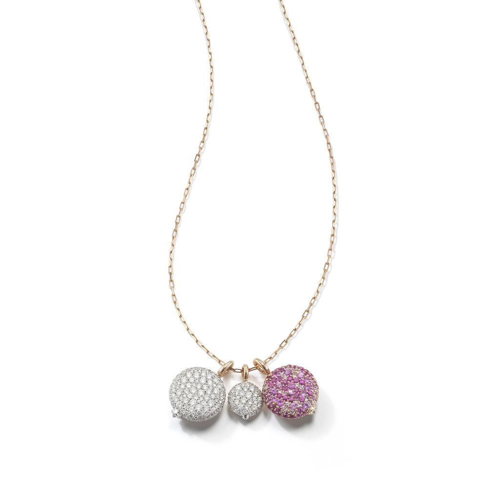 Walters Faith Chantecaille 18K Small Pink Sapphire Pebble Pebble + 24 rose gold chain pA38CA