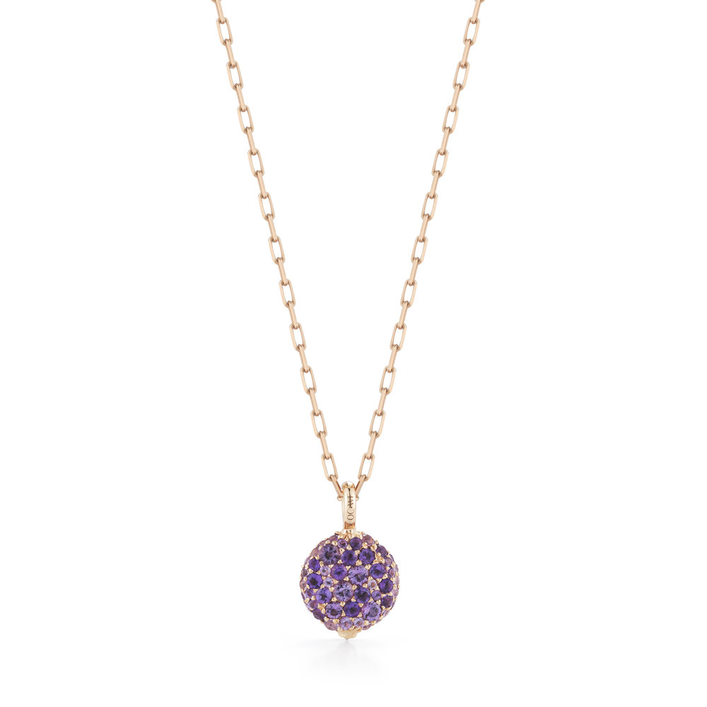 Walters Faith Chantecaille 18K Small Amethyst Pebble Pebble + 24 rose gold chain YaFCSTn9b