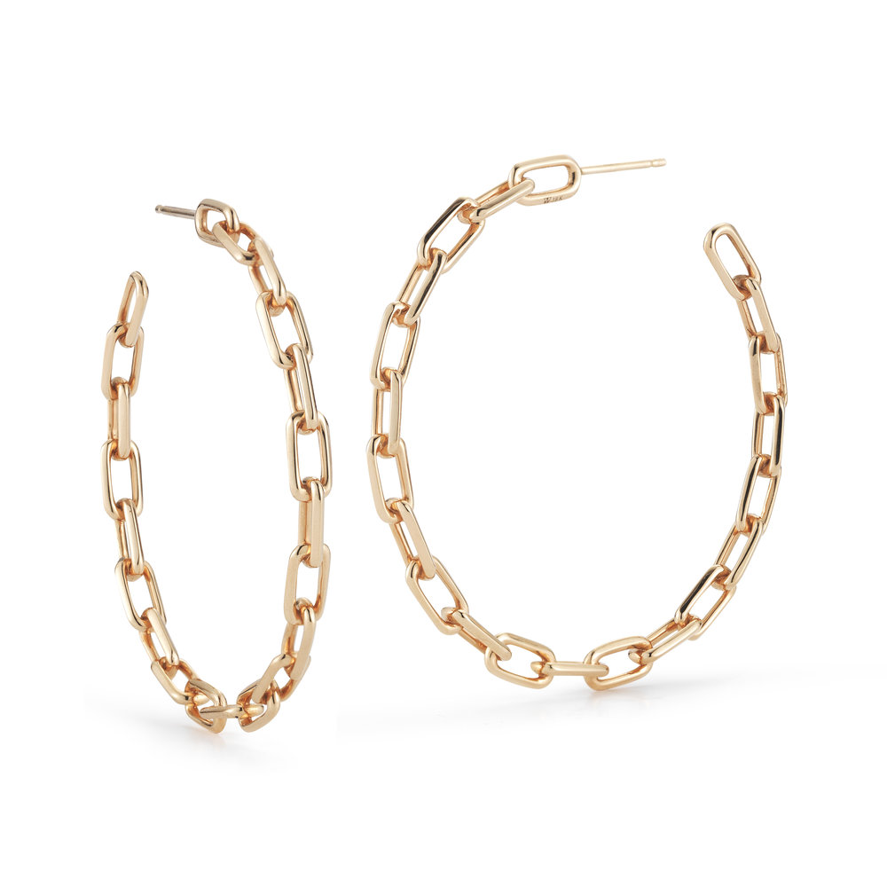 Walters Faith Saxon 2 18K Chain Link Hoop Earrings 7HrTa