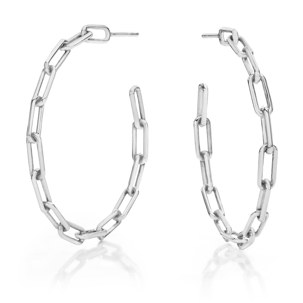 Sterling Silver Chain Link Hoop Earrings Walters Faith