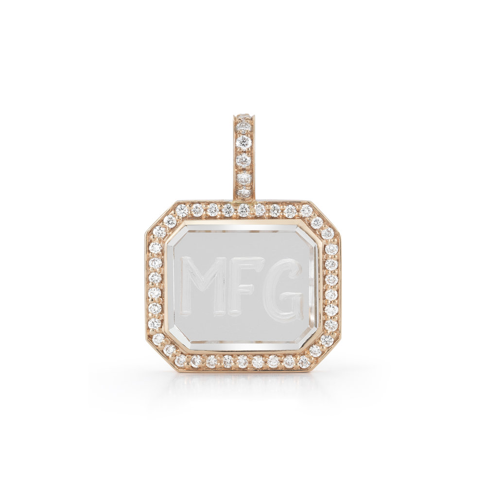 Engravable Diamond Rose Gold & Rock Crystal Charm Necklace