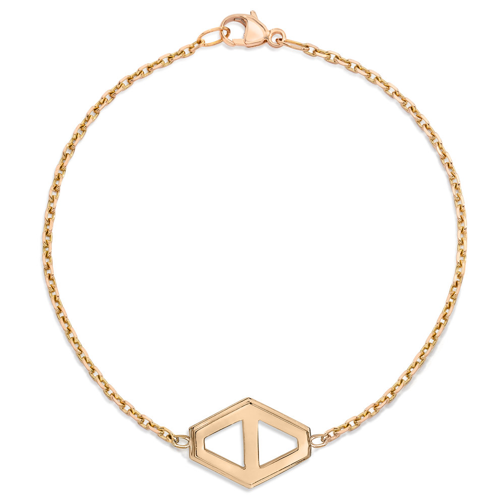 Rose Gold Walters Faith Keynes Signature Hexagon Medium Bracelet