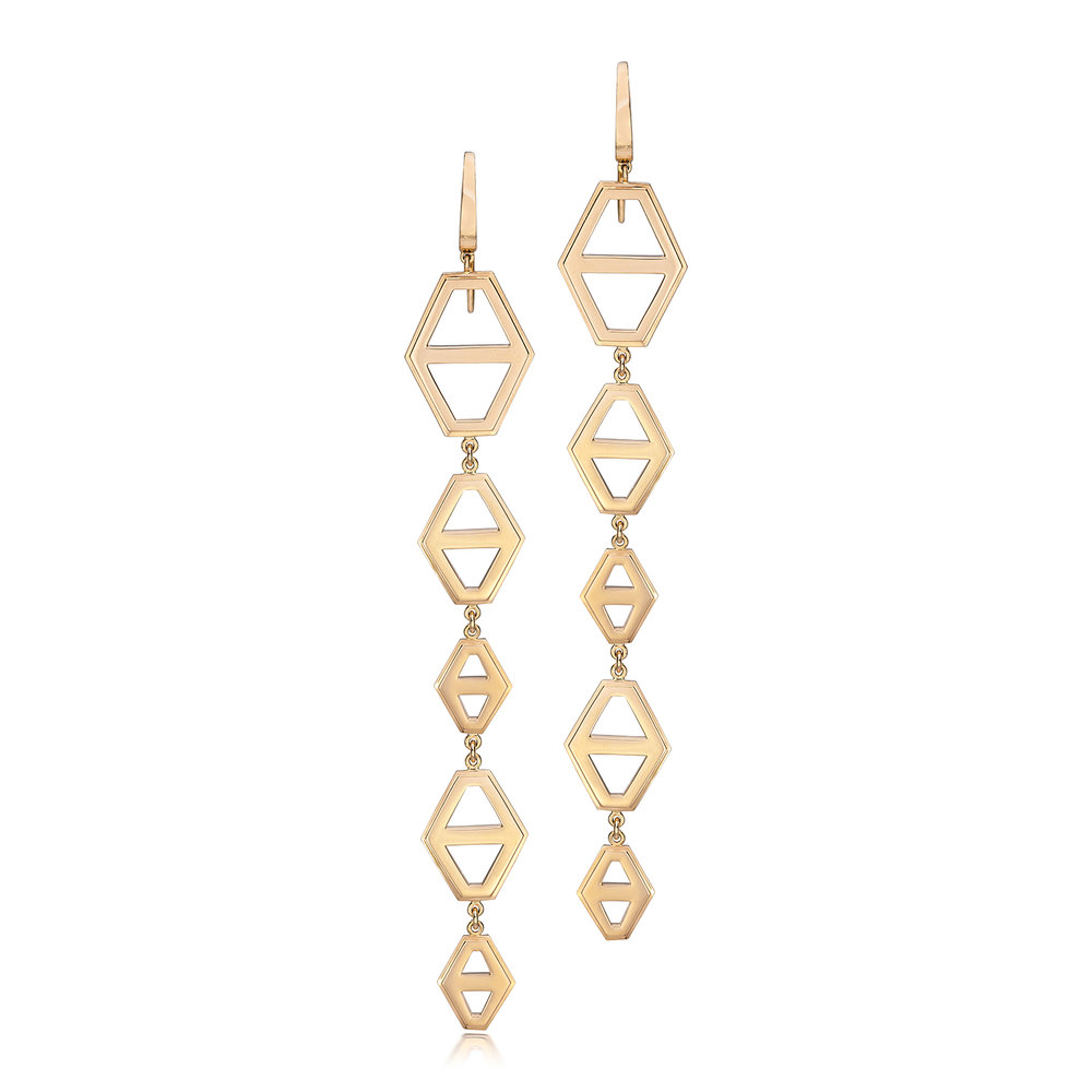 Walters Faith Keynes 18K Rose Gold Five Drop Signature Hexagon Earring Sterling silver 637Ib8