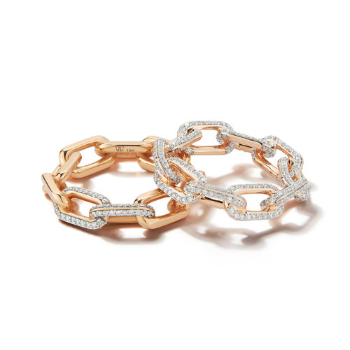 SAXON 18K LARGE CHAIN LINK RING WITH DIAMONDS — WALTERS FAITH