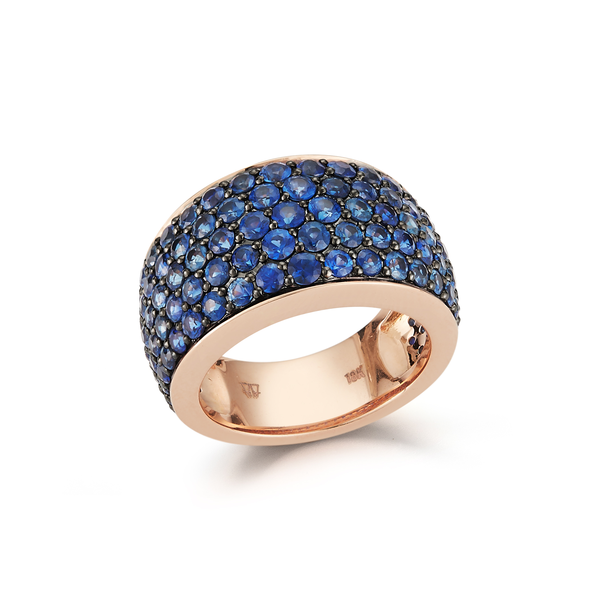 Walters Faith Lytton 18K Rose Gold Wide Ring With Diamond Edges JsGioNyHNy