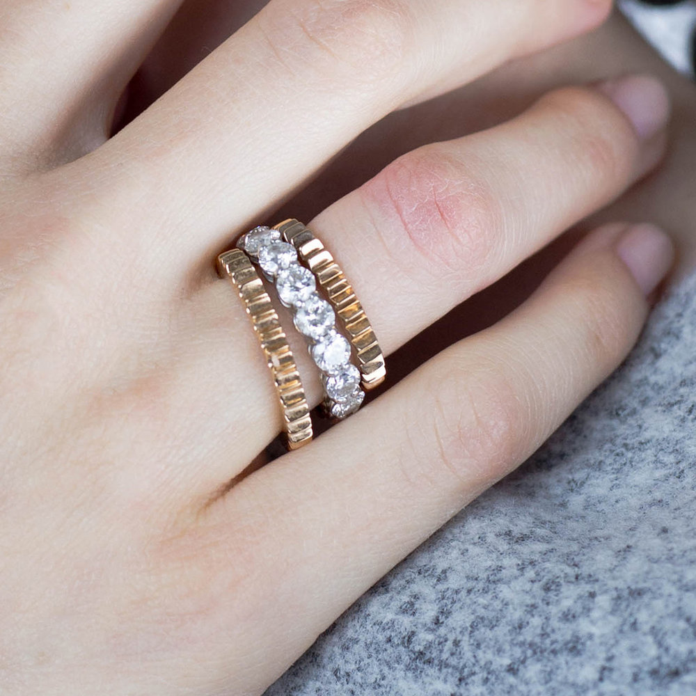 Walters Faith Clive 18K Fluted 3Mm Stackable Band Ring Silver qhCBG8V5BH