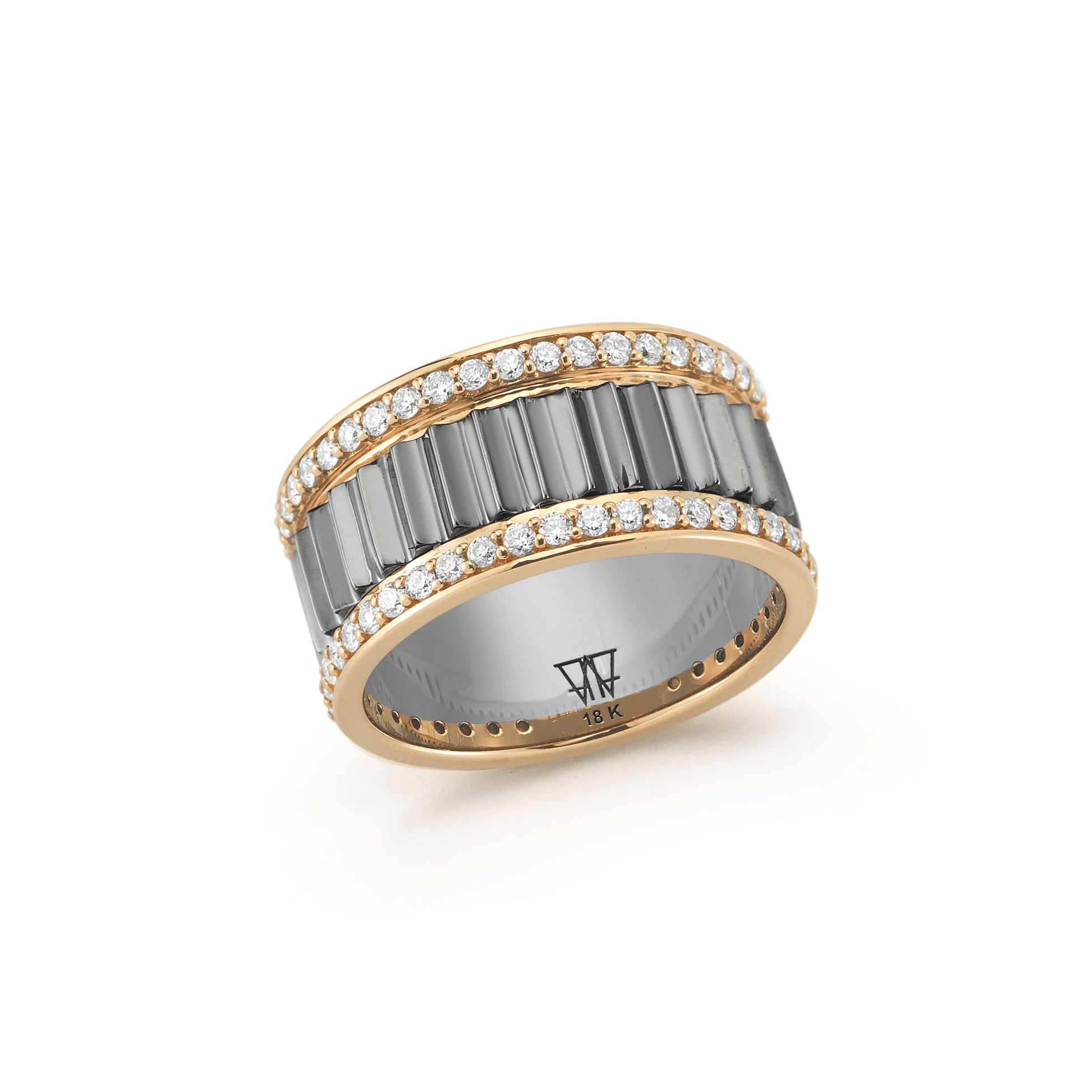 Walters Faith Lytton 18K Rose Gold And All Pave Diamond Wide Ring z66xqv