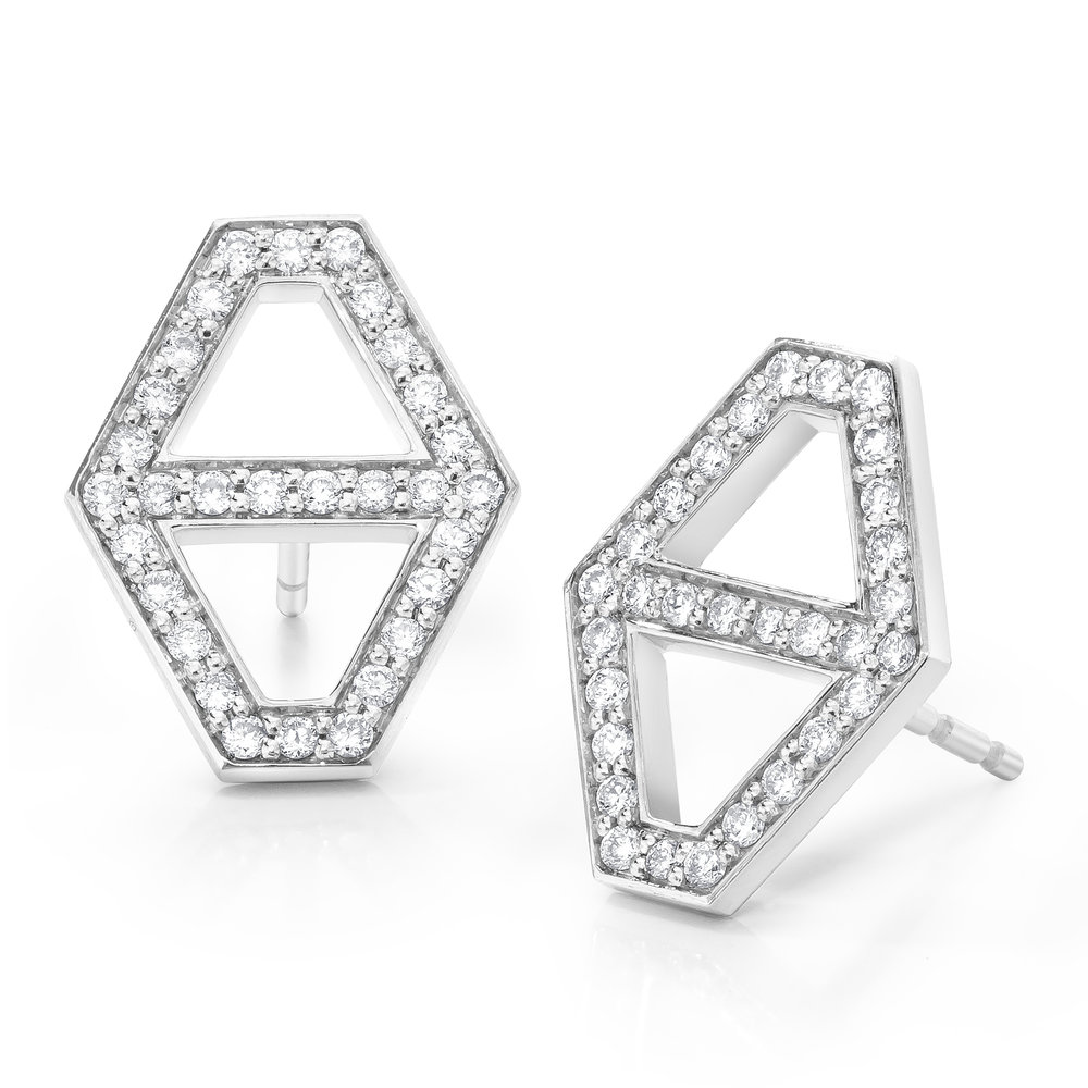 Walters Faith Keynes 18K Medium Signature Hexagon Sapphire Stud Earrings